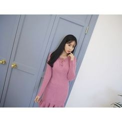 Envy Look - Lace-Up Neck Ruffle-Hem Knit Dress