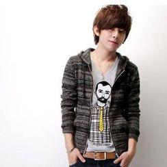 SeventyAge - Striped Hooded Knit Jacket