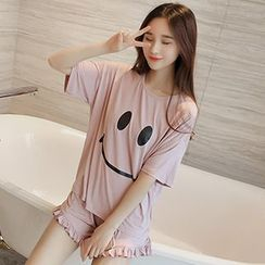 Champi - Pajama Set: Smiley Face Short-Sleeve Top + Shorts