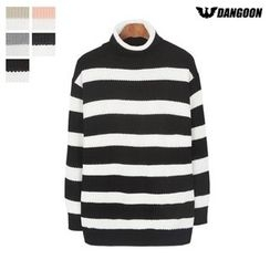 DANGOON - Mock-Neck Stripe Rib-Knit Top
