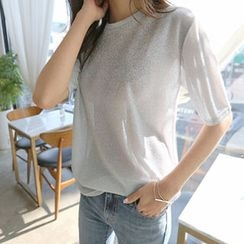 Hello sweety - Round-Neck Glittered Top