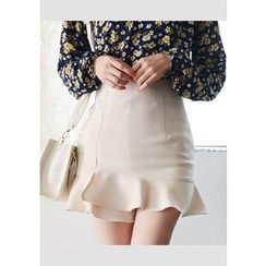 DEEPNY - Wrapped Ruffle-Hem Mini Skirt