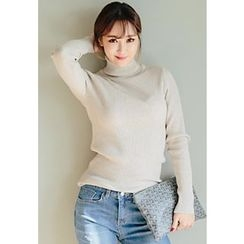 REDOPIN - Turtle-Neck Ribbed Knit Top
