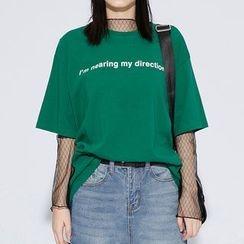 Heynew - Lettering Elbow-Sleeve T-Shirt