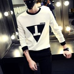 Jimboy - Triangle Print Long-Sleeve T-Shirt