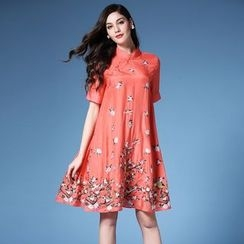 Elabo - Sleeveless Print A-Line Linen Dress
