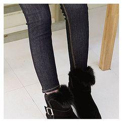 Sechuna - Stitched Brushed Fleece Skinny Jeans