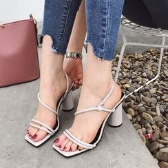 Anran - Strappy Chunky Heel Sandals