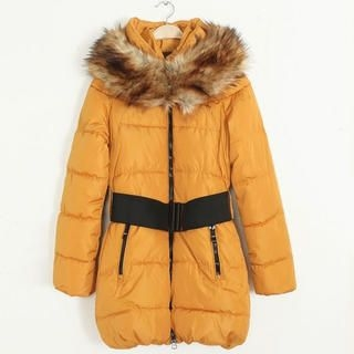 Flower Idea - Faux-Fur Trim Puffer Coat