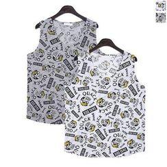 Seoul Homme - Sleeveless Print T-Shirt