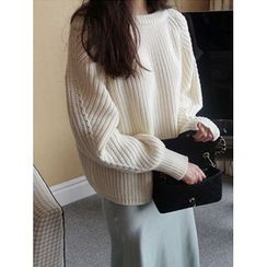 maybe-baby - Round-Neck Chunky Knit Top