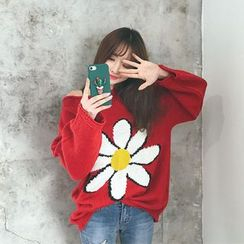 DABAGIRL - Boat-Neck Flower Print Sweater