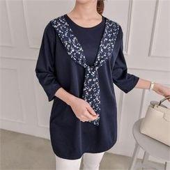 JOAMOM - 3/4-Sleeve Inset Scarf T-Shirt