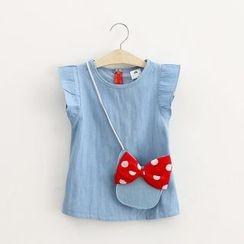 Seashells Kids - Kids Denim Sleeveless Dress with Crossbody Bag