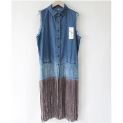 Sienne - Fringed Washed Sleeveless Denim Shirt