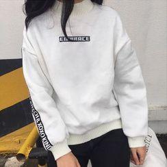 RASA - Letter Mock-neck Fleece-lined Sweatshirt