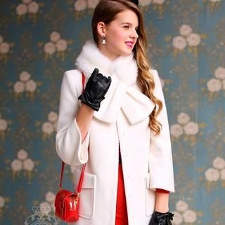 Dabuwawa - Wool-Blend Faux-Fur-Collar Bow-Accent Buttoned Coat