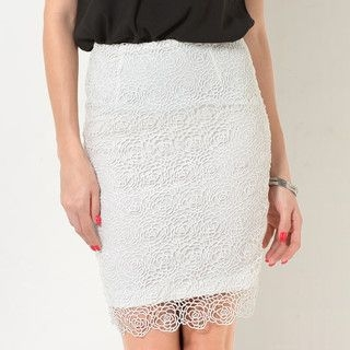 YesStyle Z - Crochet-Overlay Pencil Skirt