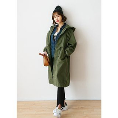 J-ANN - Hooded Cotton Long Parka