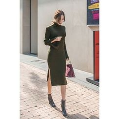 migunstyle - Turtle-Neck Ribbed Knit Dress
