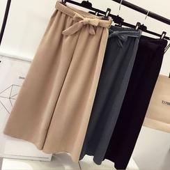 DIYI - Tie-Waist Wide-Leg Cropped Pants