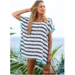 Fundae - Tasseled Stripe Chiffon Cover-up