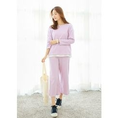 J-ANN - Set: Round-Neck Top + Banded-Waist Sweat Pants