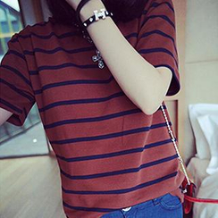 Bloombloom - Short-Sleeve Striped T-Shirt
