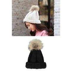 migunstyle - Faux-Fur Knit Beanie