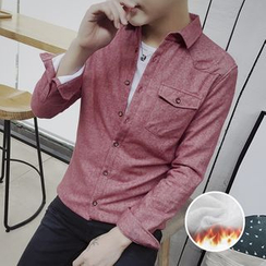 AOBIN - Fleece-Lined Long-Sleeve Shirt