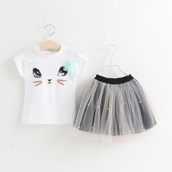 Debii - 儿童套装: 短袖拼接印花上衣 + 网纱A字短裙