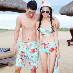 Beach Date - Couple Floral Bikini Set