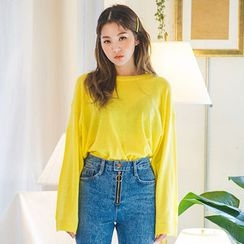 chuu - Drop-Shoulder Sheer Knit Top