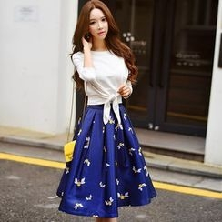 Dabuwawa - Printed A-Line Skirt