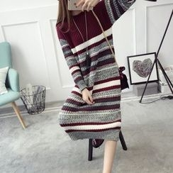 Qimi - Striped Midi Knit Dress