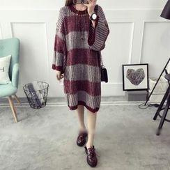 Qimi - Striped Midi Knit Dress