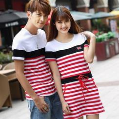 Igsoo - 情侶款條紋T恤 / 短袖條紋連衣裙