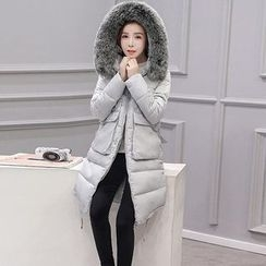 Wisteria - Furry-Trim Hooded Padded Zip Coat