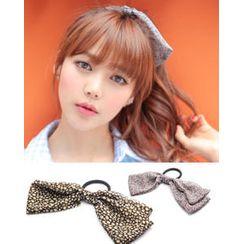 kitsch island Leopard-Print Bow Hair Tie