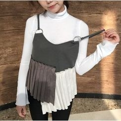 MISS YOYO - Pleated Panel Strappy Top