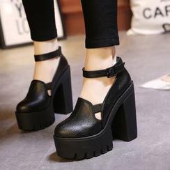 安若 - 粗跟厚底踝帶高跟鞋