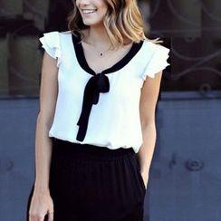LIVA GIRL - 领带前雪纺衬衫