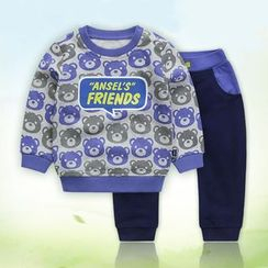 Ansel's - 童装套装: 熊印花卫衣 + 运动裤