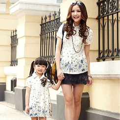 Igsoo - Family Matching Short-Sleeve Shirt / Shirtdress
