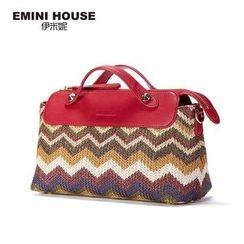 Emini House - Genuine Leather Trim Straw Handbag