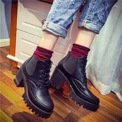 Laceuplux - Block Heel Short Boots
