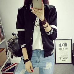 Fancy Show - Paneled Buttoned Baseball Jacket