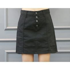 DANI LOVE - Inset Shorts Buttoned A-Line Mini Skirt