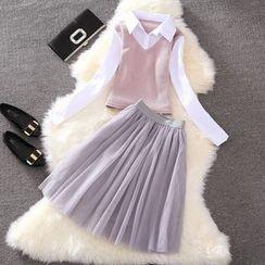Clementine - 套裝: 針織拼接襯衫 + 網紗短裙