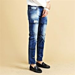 THE COVER - Paint-Splatter Distressed Washed Jeans